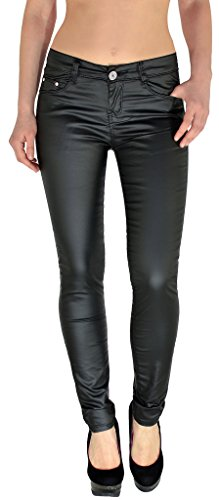 by-tex Damen Lederhose Damen Hose Skinny in Leder Optik aktuelle Farben und Designs H12