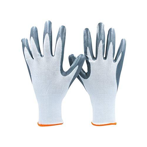 Sicherheit Nitrilbeschichtete Gartenpflegehandschuhe Orange Manschetten, 10 Paar Schutzhandschuhe Arbeitshandschuhe (Farbe : Blue 24 Pairs, Größe : S)