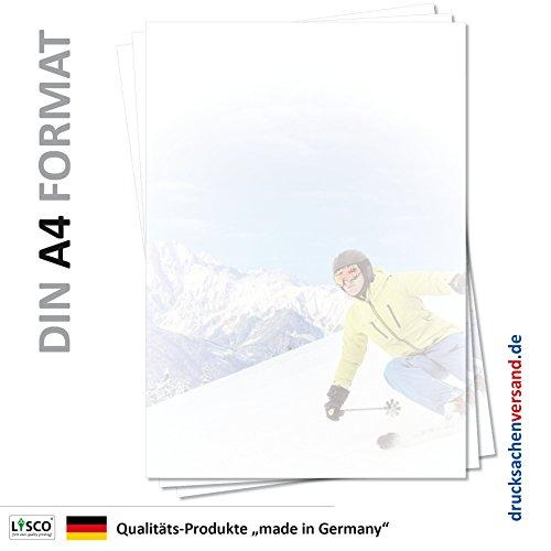 Motiv Briefpapier (Ski-5136, DIN A4, 25 Blatt) Skifahren Abfahrt Urlaub Reisen Motivpapier Erholung Spaß Sport