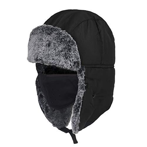 HoganeyVan Men Women Ear Protection Face Bomber Hats Thicker Plus Velvet Warm Woman Winter Hat Resist The Snow Male Bone Cap Ski Hat