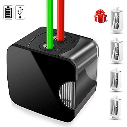 Bleistiftspitzer Elektrisch, kungfuren Anspitzer Spitzer elektrisch batterie Doppel-Spitzdose für Durchmesser 6 bis 12mm mit 2 Ersatzmesser Batterie & USB betrieben Schule Büro Briefpapier
