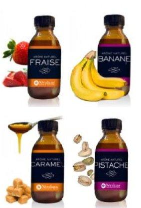 Set 4 aromes naturali fresa - caramello - banana - pistacchio