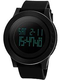 Panegy - Montre Sport Montre Plongée 5 ATM MILITAIRE Etanche numérique - Montre à bracelet en silicone - Noir