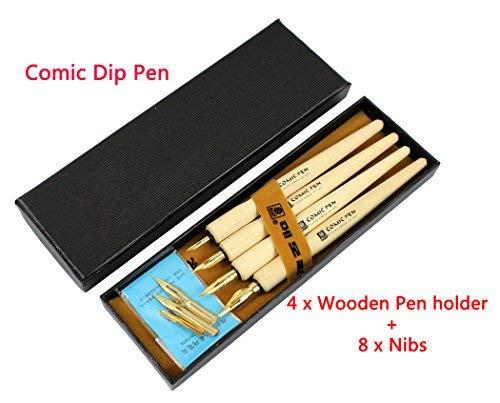 Hillento fumetto set tuffo penna, set di calligrafia dip penne 4 penna gestore penna di legno dell'artista del fumetto con 8 pennini - grande per arte disegno/manga/fumetti/calligrafia