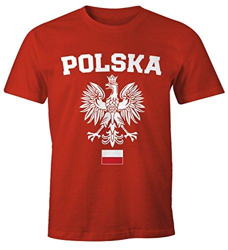 MoonWorks Herren T-Shirt Fußball WM Polska Polen Poland Flagge Weißer Adler Rot-Weiß-Schwarz 3XL