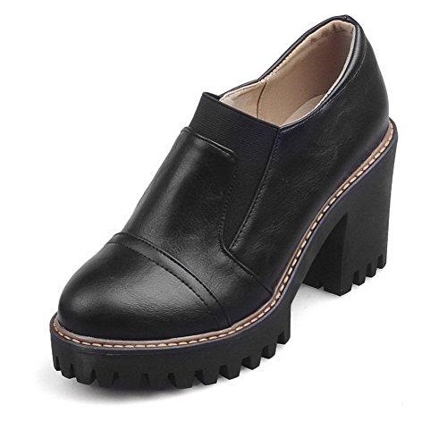 VogueZone009 Femme Matière Souple Tire Rond Couleur Unie Chaussures Légeres Noir