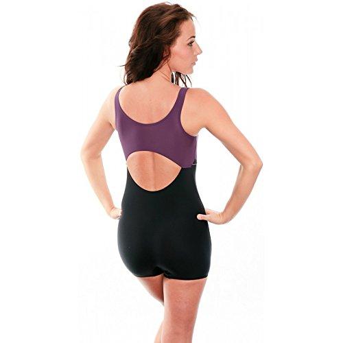 AQUA-SPEED® MAGGY Damen Badeanzug Legsuit (3 Farbvarianten Größen: 36-44) Schwarz-Violett 19