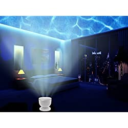 Aidle Lámpara de Proyector, Bright LED Ocean Wave Light Projector Romántico Océano Relajarse Proyector - Music Input, Música Proyección Night Light - Natural Sleeping Para Bebé Y Adulto