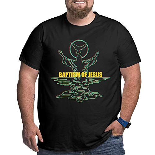 Fette Männer Jesus Print Christian T-Shirt Baumwolle Shirts PluSize T-Shirt Sommer Casual Kurzarm Rundhals T-Shirt Schwarz XXL - Jesus Youth Sweatshirt