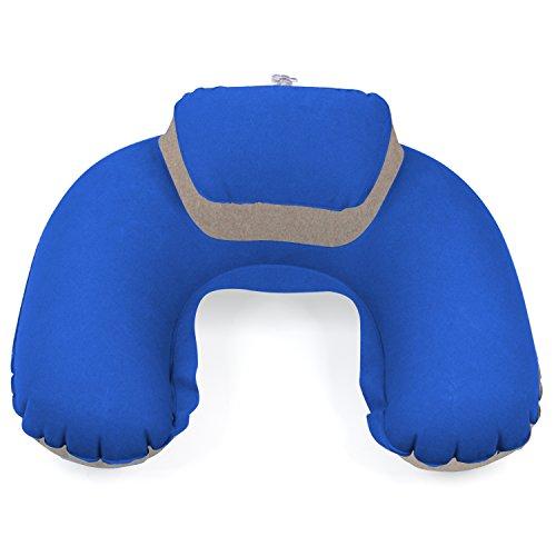 TRIXES blau/beige aufblasbares Nackenkissen Kopfstütze weiches Reise Kissen (Aufblasbar Beflockt-nacken-kissen)