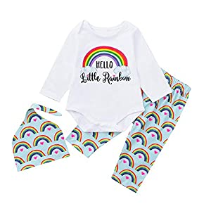 BaojunHT Newborn Girl Boy Fashion Rainbow Sleepsuit Letter Romper Pants Hat Jumpsuit Set