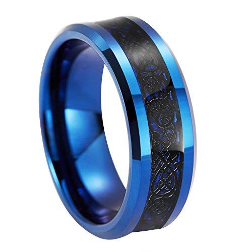 queenwish da uomo, 8mm, colore: blu in carburo di tungsteno matrimonio Anelli Nero Drago Celtico Blu Fibra di carbonio Inlay Eternity Anello Gioielli, tungsteno, 17,5, colore: Blue, cod. QWTURA-8106085