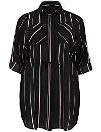 Yours Yoursclothing Plus Size Womens Striped Longline Shirt With Belted Waist, Plus Size 16 To 36
