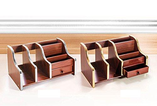 popowbe Stifthalter Holz Schublade Multifunktional Aufbewahrung Holz Desktop Fernbedienung Aufbewahrung Kosmetik-Box