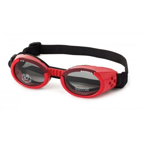 Doggles DGIL-13-S ILS Shiny Red Frame/Smoke Lens Hundesonnenbrille, S
