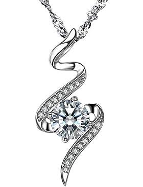F.ZENI Silber Kette Damen 925 Sterling Silber Halskette funkeln Kubisches Zirkonia Mode Silber Anhänger Kette...