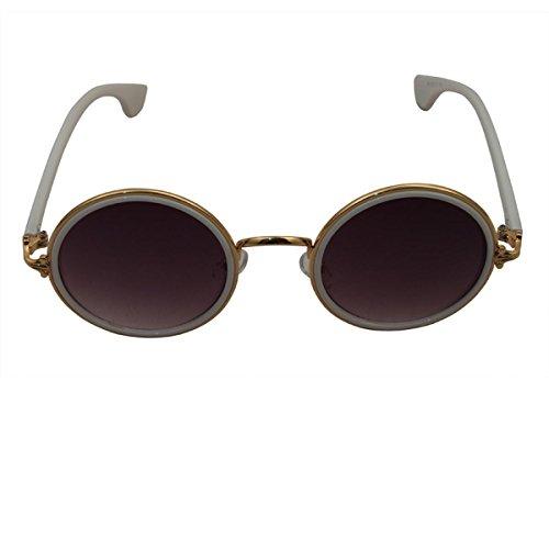 Freak Scene® Runde Retro Sonnenbrille ° 50er, 60er Jahre ° Klassiker Brille ° Farbe: weiß/Gold