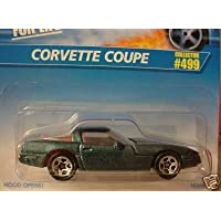 Mattel Hot Wheels 1996 1:64 Scale Dark Green Metallic Chevy Corvette Coupe Die Cast Car Collector #499 by