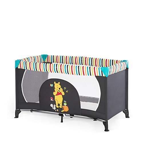 Hauck Dream'n Play Kinderreisebett, 3-teilig, 120 x 60 cm, ab Geburt bis 15 kg, inkl. Matratze, Tragetasche (faltbar, tragbar, leicht und kippsicher), pooh geo (schwarz)