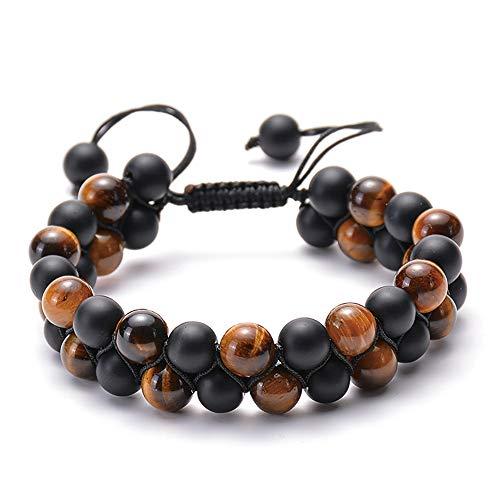 Gywttg Mens Lava Rock Armband-Tigerauge Perlenarmband Hemitate Naturstein Yoga Ätherisches Öl Braid Armbänder Double Layer Perlen,styletwo -