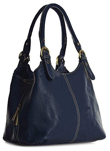 Big Handbag Shop, Borsa a mano donna Blu (Mittlere Marine Blau)
