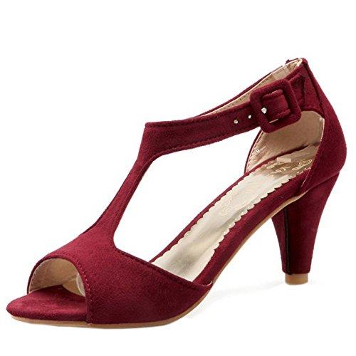 TAOFFEN Femmes Elegant Peep Toe Sandales Conique Talons Moyen T-strap Chaussures De Boucle Vin Rouge