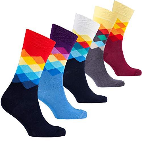 socks n socks Männer 5-Paar Luxus Spaß Cool Bunte Baumwollsocken Geschenkbox Einheitsgröße Diamond -