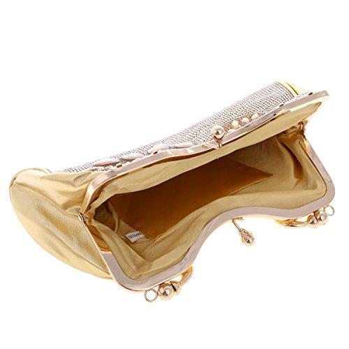 Damara Sac de Soirée Pochette Femme Synthétique Noble Exquis Iamge de Paon Antique or