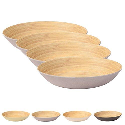 Umweltfreundliches Geschirrset tiefe Teller von Kaufdichgrün I 4 Stück Bambus Teller groß 22 cm I Speiseteller rund grau, BPA frei I Kinderteller Suppenteller Salatteller Schale Essteller (Melamin-holz)