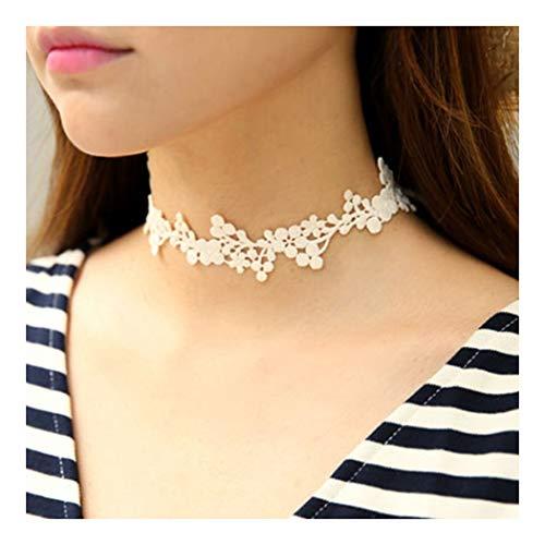 ZUXIANWANG Verband Mädchen Halskette Leder String Bug Süß Lace Halskette Zubehör Halskette Girl, Reis Weiß