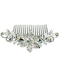 Unbekannt Para peinarla brillantes flores boda peine pelo de oro y plata (HK004)