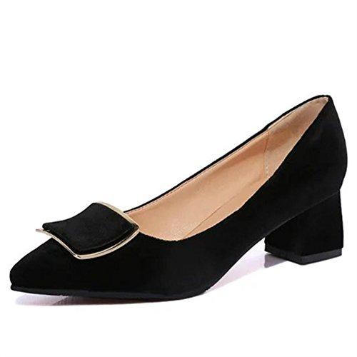 L'Europe et le côté vent boucle mode Chaussures femmes/pointes orteils chunky talons chaussures/Chaussures légères A