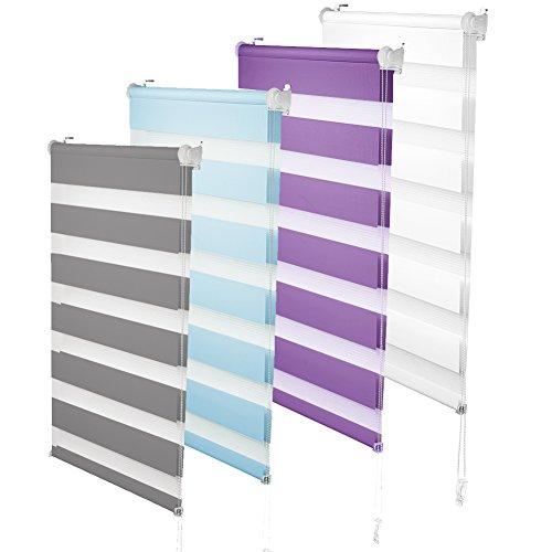 S SIENOC Doble persiana Enrollable Duorollo Estor Enrollable Doble Tejido Persiana para Las Ventanas de Oficina Estar Dormitorio (Blanco, 90x150 cm)