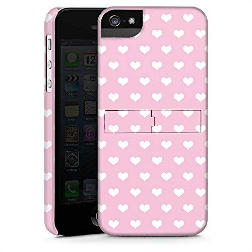 Apple iPhone X Silikon Hülle Case Schutzhülle Polka Herz Rosa Muster Premium Case StandUp