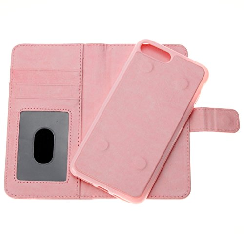 Hülle für iPhone 7 plus , Schutzhülle Für iPhone 7 Plus Trennbare Crazy Horse Texture Zipper Wallet Style Flip Leder Tasche ,hülle für iPhone 7 plus , case for iphone 7 plus ( Color : Pink ) Pink
