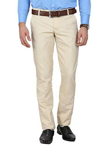Routeen Beige Tussar Slim Fit Formal Trousers for Men
