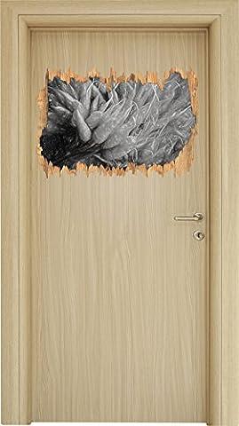 Santé percée bois effet dessin au fusain bouquet de carottes en apparence 3D, la taille de la vignette mur ou de porte: 62x42cm, stickers muraux, sticker mural, décoration murale