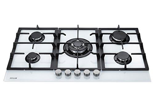 Millar GH9051TW Plaques de cuisson en Verre trempé avec 5 brûleurs à gaz Blanc 90 cm / Table de Cuisson