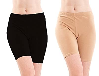 Fashion Line BLACK AND SKIN Women's Cycling Shorts (Pack Of 2)