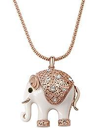 Yoursfs lindo esmalte blanco del collar largo del elefante de imitación de diamante 18K de colores ...