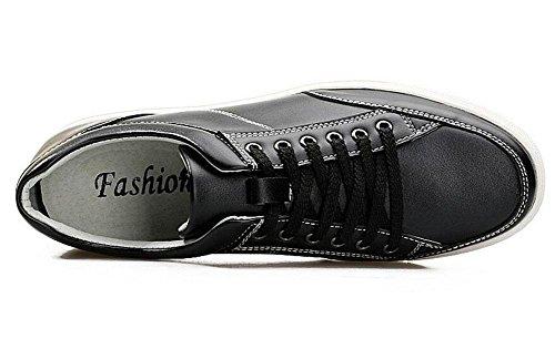 SHIXR Hommes Chaussures de sport Printemps Jeune Casual Board Chaussures Lace Flat Leather Men 'S Shoes Skateboard Shoes noir