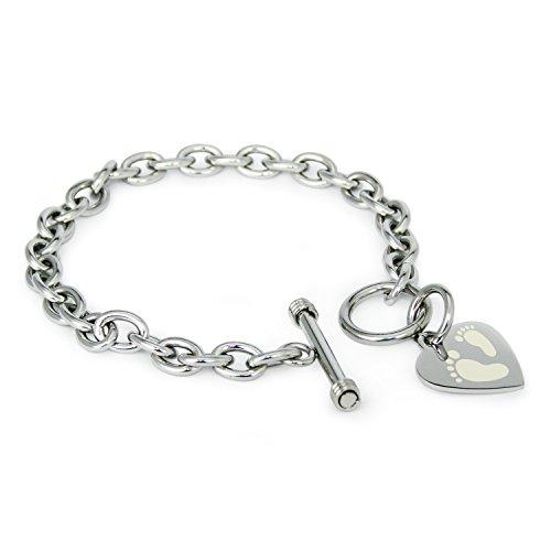 acciaio-inossidabile-impronte-icona-inciso-modifica-del-cuore-toggle-bracciale