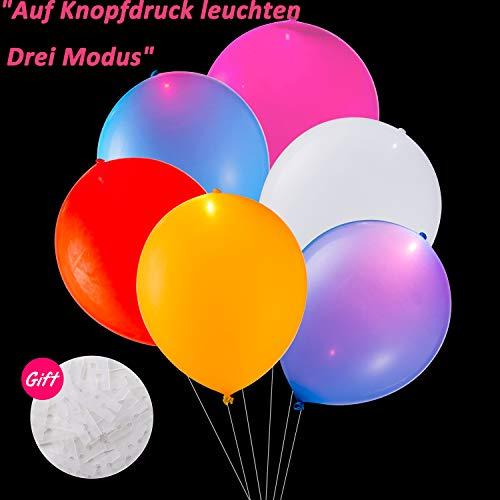 TECHSHARE LED Luftballons Bunt, LED Leuchten Ballon, Luftballons Party 30 Stück Mischfarbe für Hochzeit Geburtstag Weihnachten Fasching Valentinstag Party Deko (LED-Ballon mit Schalter) (Neueste Kinder Kostüme)