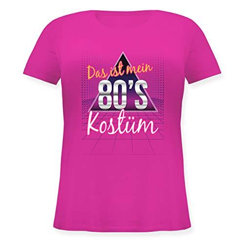 Karneval & Fasching - Das ist Mein 80er Jahre Kostüm - XL (50/52) - Fuchsia - JHK601 - Lockeres Damen-Shirt in großen Größen mit Rundhalsausschnitt