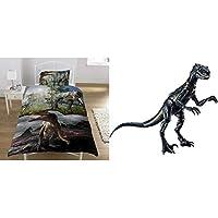 KidCollection Jurassic Predators Single Panel Duvet Cover Bed Set - T Rex, Raptors & World FVW27 Indoraptor Dinosaur