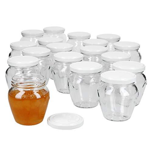 MamboCat 18er Set Marmeladengläser 212 ml + Twist-Off-Deckel to 63 weiß I Einmachgläser zum Befüllen mit Honig, Konfitüre & Gelee I Einkochzubehör -