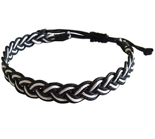 artisan-asiatique-bracelet-fait-main-100-ficelle-de-coton-couleur-blanc-noir-thalande