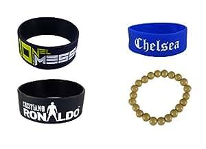 Messi, Ronaldo, Chelsea wrist band combo of 3(bracelet worth RS. 99/- FREE)