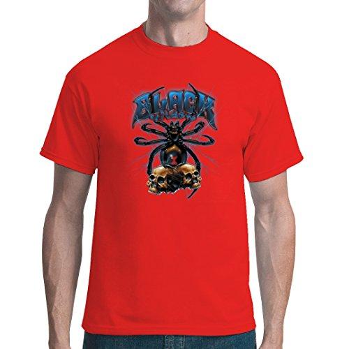 Im-Shirt - Schwarze Witwe und Schädel cooles unisex Fun Shirt - Rot XXL (Fisch Black Widow)