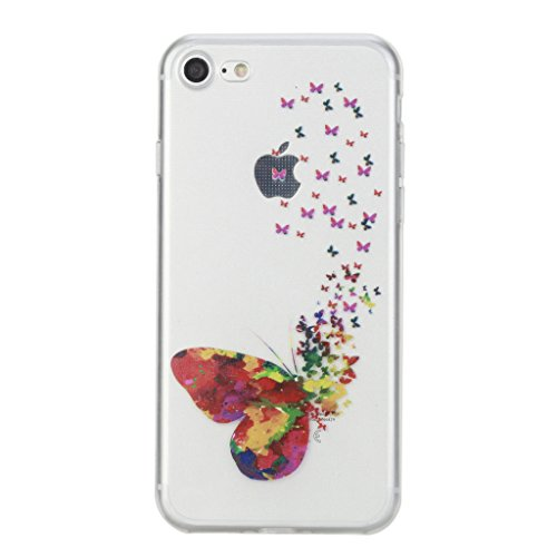 iPhone 7 Hülle,iPhone 7 (4,7 Zoll) Silikon Hülle,Mo-Beauty® iPhone 7 Klare Ultradünne Silikon Gel Schutzhülle Durchsichtig,Bunte Malerei Painted Muster Transparent TPU Sillikon Weich Ultra Thin Handyt M
